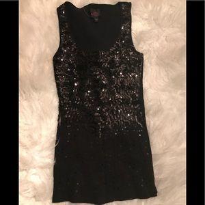 2b Bebe tank top black sequins front sz sm.